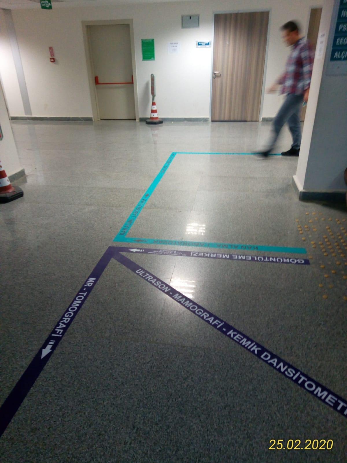 Yön bulma floor grafik şeritleri